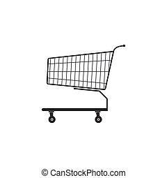 Shopping cart icon isolated. Flat design. Vector Illustration