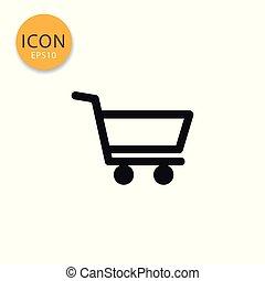 Shopping cart icon isolated flat style.