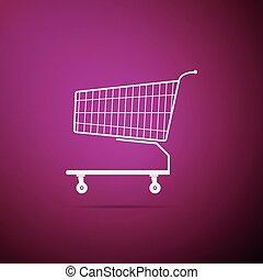 Shopping cart icon isolated on purple background. Flat design. Vector Illustration