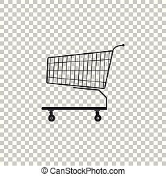 Shopping cart icon isolated on transparent background. Flat design. Vector Illustration
