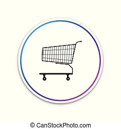 Shopping cart icon isolated on white background. Circle white button. Vector Illustration