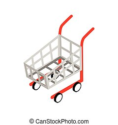 Shopping cart icon, isometric 3d style