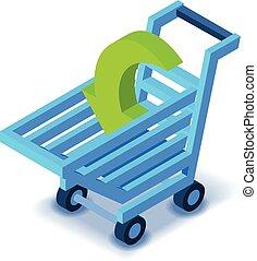 Shopping cart icon, isometric style