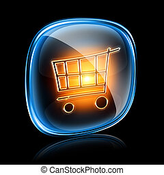 shopping cart icon neon, isolated on black background