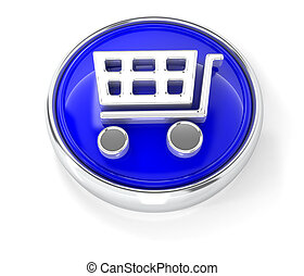 Shopping cart icon on glossy blue round button