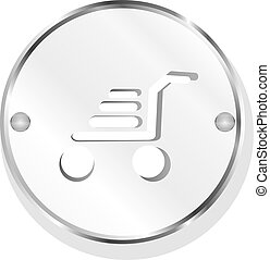 Shopping cart icon on internet button isolated on white