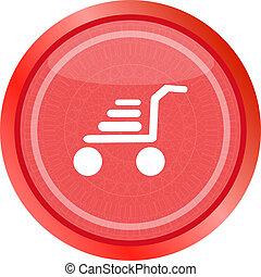 Shopping cart icon on round internet button original illustration