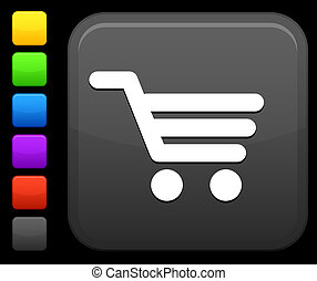 shopping cart icon on square internet button - Original...