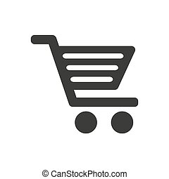 Shopping cart icon on white background.