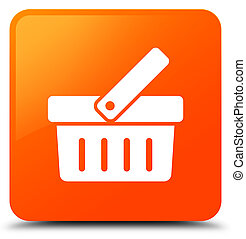 Shopping cart icon orange square button