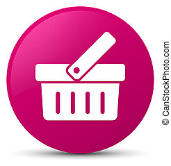 Shopping cart icon pink round button