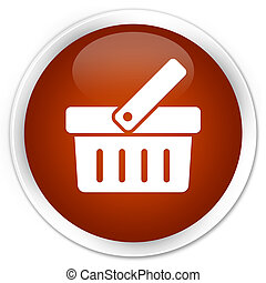 Shopping cart icon premium brown round button