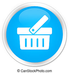 Shopping cart icon premium cyan blue round button