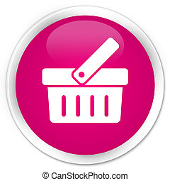Shopping cart icon premium pink round button
