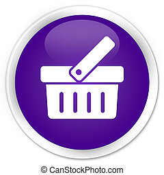 Shopping cart icon premium purple round button