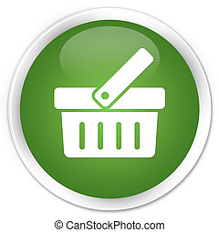 Shopping cart icon premium soft green round button