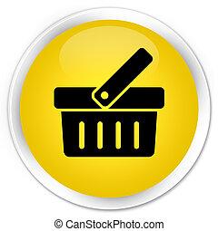 Shopping cart icon premium yellow round button