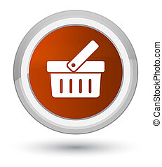 Shopping cart icon prime brown round button