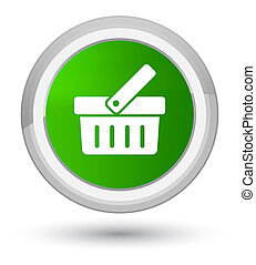 Shopping cart icon prime green round button