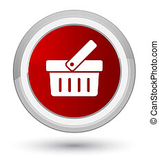 Shopping cart icon prime red round button