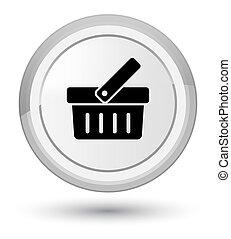 Shopping cart icon prime white round button