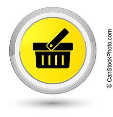 Shopping cart icon prime yellow round button