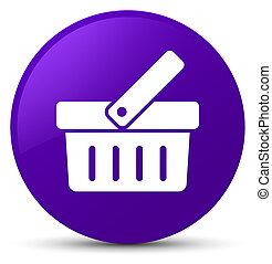 Shopping cart icon purple round button