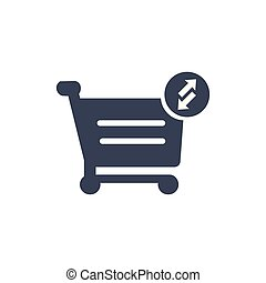 Shopping cart icon. Put in and out cart online shopping icon with arrows. Vector illustration isolated on white background.