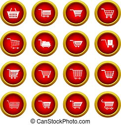 Shopping cart icon red circle set