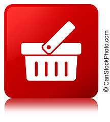 Shopping cart icon red square button
