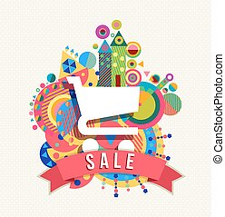 Shopping cart icon, sale label with color shapes