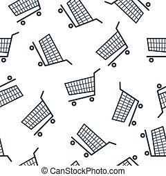 Shopping cart icon seamless pattern on white background.