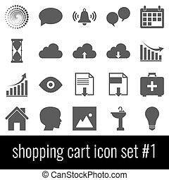 Shopping cart. Icon set 1. Gray icons on white background.