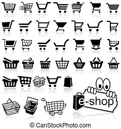 Shopping Cart Icon - Set of Black Icons, Vector Illustration