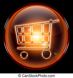 shopping cart icon, isolated on black background