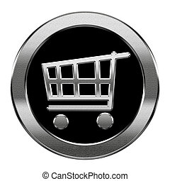 shopping cart icon silver, isolated on white background.