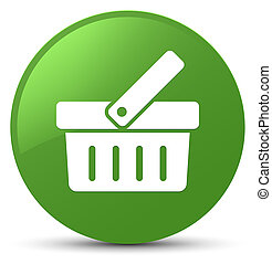 Shopping cart icon soft green round button