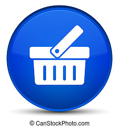 Shopping cart icon special blue round button