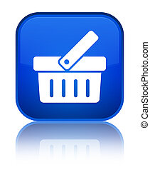 Shopping cart icon special blue square button