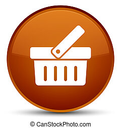 Shopping cart icon special brown round button
