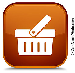 Shopping cart icon special brown square button