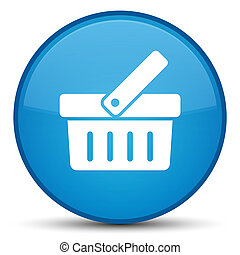 Shopping cart icon special cyan blue round button