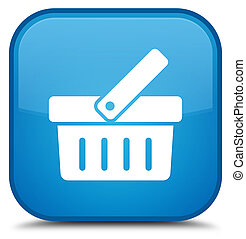 Shopping cart icon special cyan blue square button