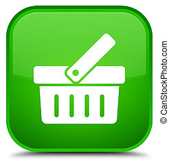Shopping cart icon special green square button