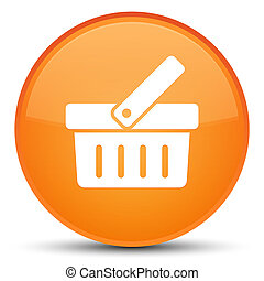 Shopping cart icon special orange round button