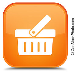 Shopping cart icon special orange square button