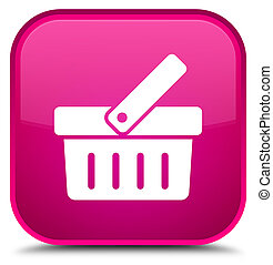 Shopping cart icon special pink square button