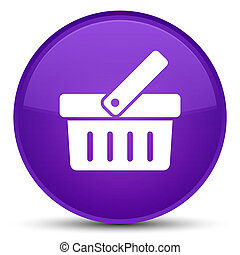 Shopping cart icon special purple round button