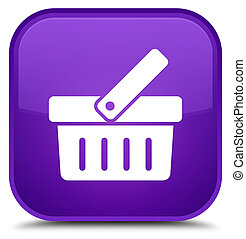 Shopping cart icon special purple square button