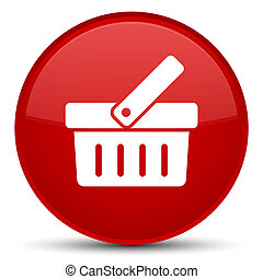 Shopping cart icon special red round button